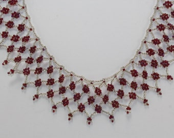 Silver and burgundy seed bead collar necklace