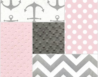 Nautical Baby Girl Crib Bedding - Gray Anchors, Light Pink Dot, Gray Chevron, and Light Pink Crib Bedding Ensemble
