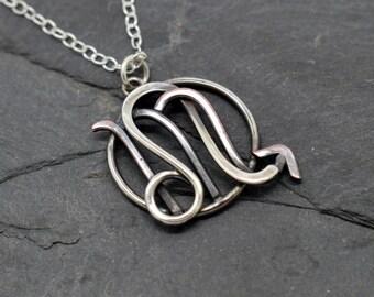 Leo scorpio combined zodiac necklace sterling silver