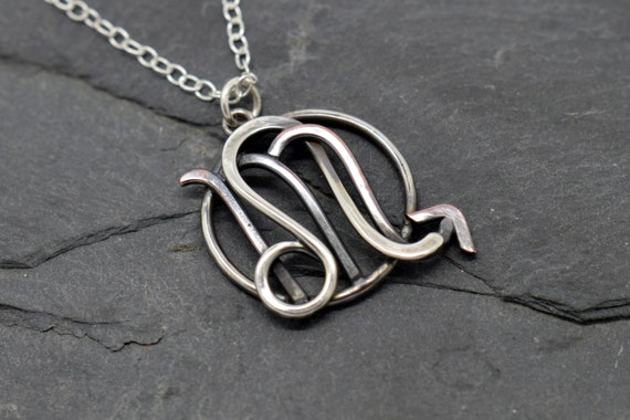 Leo scorpio zodiac necklace oxidised sterling silver and like this item mozeypictures Images