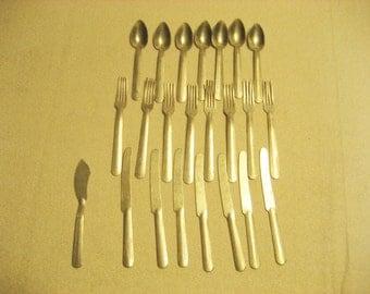 KiddyKook Childs Aluminum Play Flatware Set Vintage 1950s Doll Silverware Set
