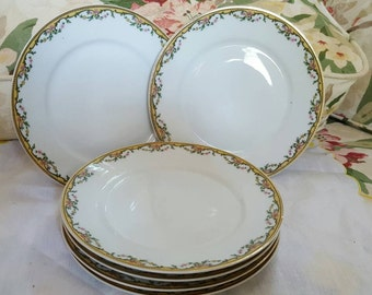 Set of 6 Lovely UC Limoges France Luncheon Plates Gold Trimmed Floral Festooned Dijon  Mustard Yellow Pink Green Design Motif So Shabby Cute