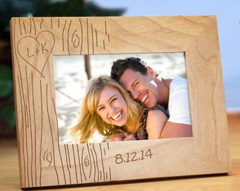 Engraved Couples Tree Carving Picture Frame Personalized Custom Photo Frame