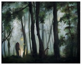 """Signed print of oil painting """"Elder in the forest""""  8"""" x 10"""" matte photo paper"""