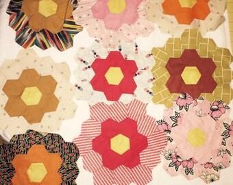 Vintage quilt pieces hexagonal
