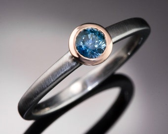 Mixed Metal Blue-Green Round Montana Sapphire Engagement Ring, 14k Rose Gold Bezel Solitaire with Palladium, Platinum or White Gold Band