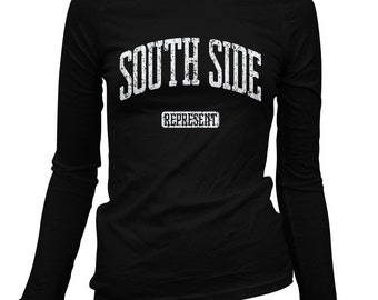 Women's South Side Represent Long Sleeve Tee - S M L XL 2x - Ladies' South Side T-shirt - 3 Colors