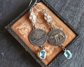 Assemblage Earrings, Rome, Italy, Castel St. Angelo Mausoleum of Hadrian Souvenir altare della patria Devotional, Catholic, jewelry devotion