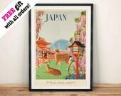 PLAKAT PODRÓŻNY JAPONII: Rocznik ogłoszenia japońskiego jelenia, reprodukcja ścienna wiszące