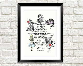 BONKERS ART PRINT: Vintage Alice in Wonderland 'Have I Gone Mad' Illustration Wall Hanging (A4 / A3 Size)