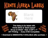 """Kente Africa Label Template - 30-up on 8.5""""x11"""" - Avery 5160 Compatible - Blank Space on Right - Digital Download Immediately Available"""