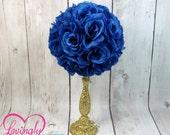 Centerpiece Royal Blue Rose Pomander Glitter Gold Vase - Royal Baby Shower, Birthday, Wedding, Bridal Shower Centerpiece