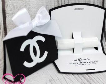 Lip Balm Holder Favor Bags Little Fashionista, Black & White - Set of 10 - Chap Stick Holder - Birthday, Baby Shower