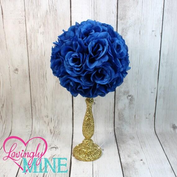 Centerpiece royal blue rose pomander glitter gold vase