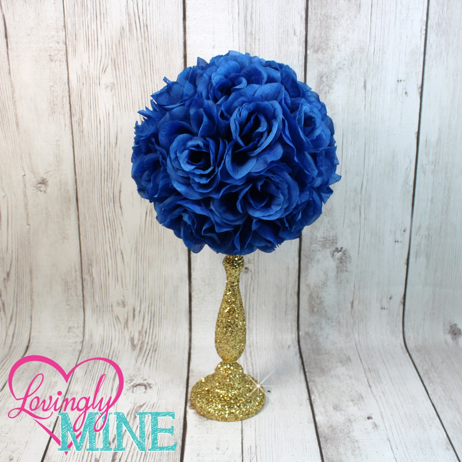 Centerpiece royal blue rose pomander glitter gold vase
