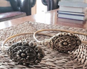 sunflower and rosette drapery tie back set french brass