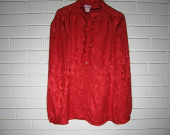 Vintage shiny red ruffle front blouse size 16