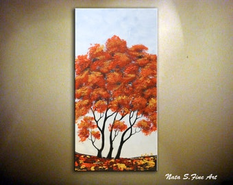 Autumn Tree Painting.Landscape on Canvas Painting.Modern Original Art.Seasons.Wall Decor. Perfect Gift  by Nata S.
