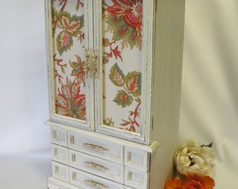 Large Oversize Jewelry Box Armoire Storage and Organizer - Creamy White - Shabby Chic, Cottage, Traditional Home Decor - Vintage Upcycled