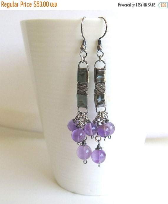 Spring Sale, Statement earring, Long gemstone earring, Unique earring, Silver purple earring, Modern earring, Oxidized silver earring,