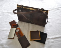 Vintage Mappin and Webb Brown Lizard Skin Handbag complete with matching Comb and Mirror Set and Kigu Compact