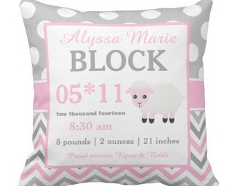 Sheep Pink Birth Announcement Pillow Cover and Insert