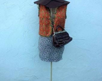 vintage Kombi Hut Rock dress Bolerojacke cardigan recyclingfashion retro Hippie chic 70's Paisley