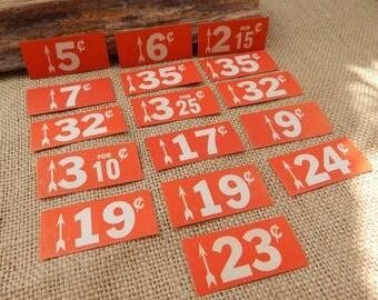 16 General Store Shelf Price Tags  ~  Vintage Shelf Price Tags  ~  Metal Shelf Price Tags  ~  Orange Retail Store Shelf Price Tags