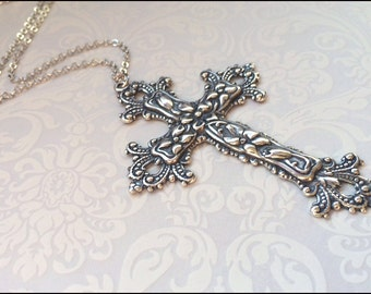 Silver Cross Necklace~Christian Faith Jewelry, LARGE DETAILED GORGEOUS Cross, Religious Necklace, Guardian Angel Forever Gift for Her Love