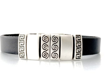 Womens Leather Bracelet - Black Leather Jewelry - Leather Cuff Bracelet - Leather Bracelet  -  Small Wrist  - Geometric Jewelry - Modern