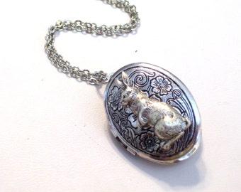Silver Bunny Locket, Antiqued Silver Floral Locket, Silver Rabbit Locket, Oval Silver Locket Pendant Necklace