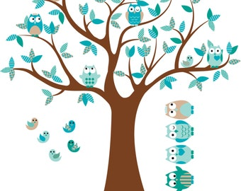 Kids tree decal- Nursery wall decals- Vinyl wall decal- Owl tree decal- 5 Free owls