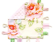 Hello Roses - Pink ivory Floral Baby Girl tag lovey sensory blanket toy with pink minky