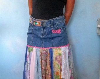 Bohemian skirt , Gypsy skirt  , boho chic denim skirt ,  up cycled jean skirt , tattered clothing, festival skirt, French scarves skirt