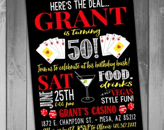 Las Vegas Birthday Invitation Vegas Invitation Printable Birthday Birthday Bash Casino Invitation Casino Birthday Invitation Boy Birthday