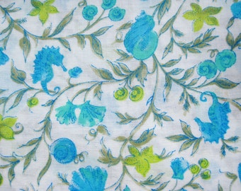 Vintage 50s 60s Turquoise Blue Under the Sea Ocean Novelty Print Cotton Blend Fabric Remnant 2 Yards