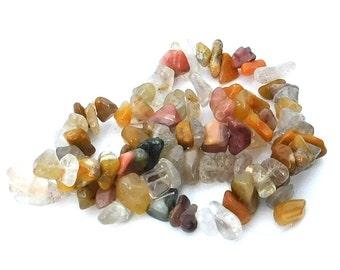 Multi Gemstone Chip Bead Strand, Multi Color Stone, Mixed Gemstones, Quartz Stone, Rhodonite, Jewelry Making, Stone Chip Beads, Craft Beads