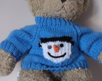 Christmas Teddy Bear Sweater - Hand knitted - Blue with Snowman