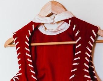 1980's vintage women's dress / red / small / teardrop back /