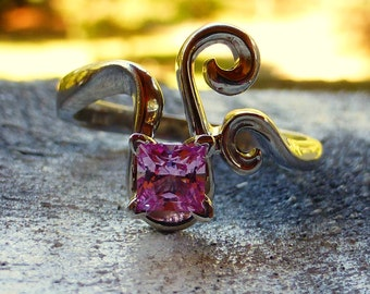 Exceptional Custom 14k Princess cut pink sapphire scrolling engagement ring.Gorgeous stone! 7.5