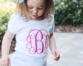Monogrammed Girl's shirt. Personalized 3 letter monogram for little girl, baby, toddler. Embroidered name. Children's boutique clothing.