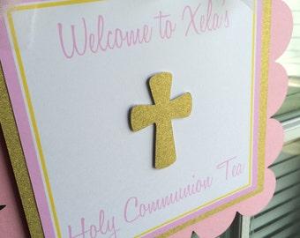 God Bless Baptism Door Sign Pink and Gold