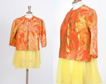 Vintage 1950s Vanny of Hong Kong Orange Red Gold Metallic Jacket/ Medium