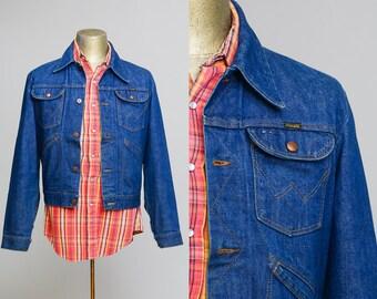 70s Wrangler Jean Jacket Indigo Blue Denim 4 Pocket Jean Jacket