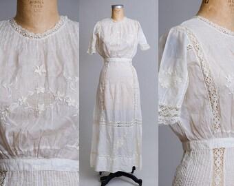 Edwardian Lace Eyelet Cotton Gibson Girl Avalon Wedding Dress