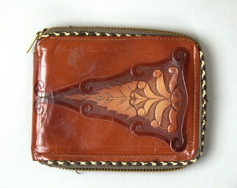 1940s Tooled Leather Wallet Art Deco Western Wallet