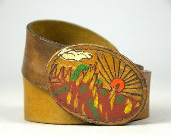 70s Hand Painted Landscape Leather Bohemian Hippie Belt