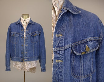 70s Lee Jean Jacket Indigo Blue Denim Western Ranch Hand Jean Jacket
