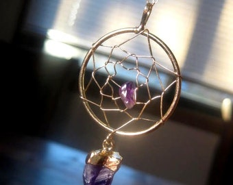 Amethyst DREAM CATCHER Necklace - Gold Dream Catcher Necklace - Tribal - Gypsy - Wiccan - Boho - Custom Chain Length - Christmas Gift