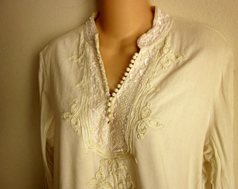 White cotton boho tunic top hippie beaded Polo Jeans XL